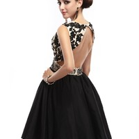 Cocomelody Open Back A Line Black Taffeta Short Cocktail Party Homecoming Dress