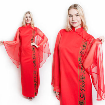 Vintage 70s Dress - ALFRED SHAHEEN Angel Sleeve Chiffon Printed Red Knit Maxi Gown - Large