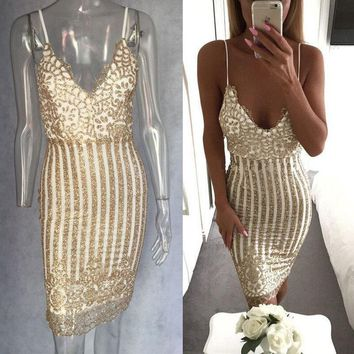 Womens Sexy Elegant Summer Solid Floral V-Neck Sleeveless Strap Sequined Slim Open Back Party Fitted Sheath Bodycon Shiny Dress