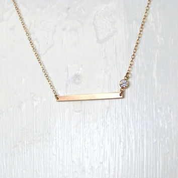 Gold Bar Necklace Skinny Bar with CZ Gold Layered Necklace Bridesmaid Jewelry Girl Friend Gift Layering Jewelry