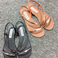 Summer Design Shoes Stylish Metal Decoration Hollow Out Flat Sandals [4918351108]