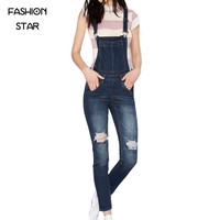 Women Sleeveless Denim Jumpsuit Women Casual Blue Rompers Round Neck Plus Size Playsuit Plus Size Holes Combinaison Femme