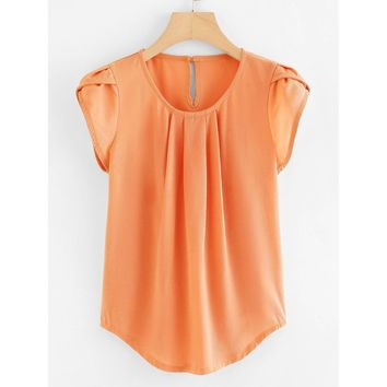 Petal Sleeve Pleated Detail Curved Hem Blouse Orange