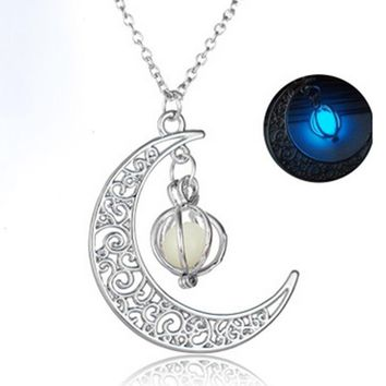 Glow In The Dark Luminous Necklace Moon&Pumpkin Pendant Silver Plated 8.25