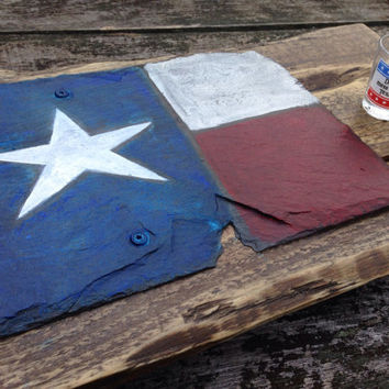 Texas Flag Folk Art Serving Tray and/or Wall Art. Hand made from reclaimed slate roof tile, fixed on recycled pallet.
