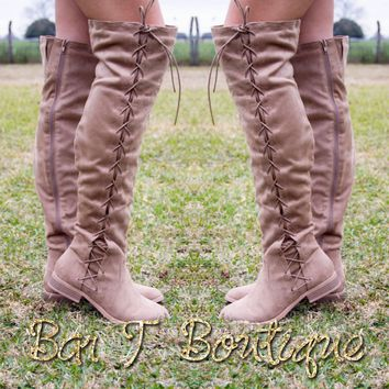 Taupe Laced Knee High Boots
