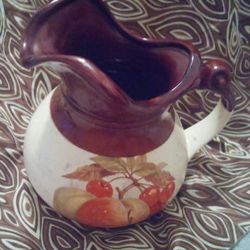 1960's McCoy Pottery 7515 Pitcher With Harvest Pattern of Green Grapes, Orange Leaves and Brown Walnuts
