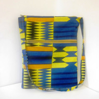 Multi Pocket Zipper Purse Tote Bag African Tribal Pattern in Blue and Gold