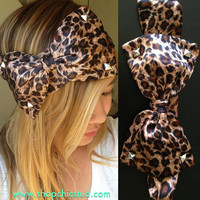 Studded Bow Headband Head Wrap Turban - Leopard Print Bow - Silver, Black or Gold Studs