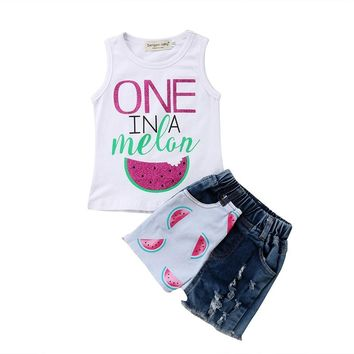 New Summer Toddler Kids Baby Girl Watermelon Sleeveless Vest Tops+Ripped Jeans Denim Shorts 2PCS Outfits Children Clothes
