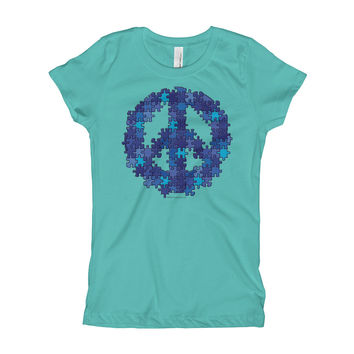 Puzzle Peace Sign Autism Spectrum Asperger Awareness Girl's Princess T-Shirt