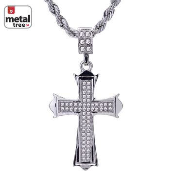 """Jewelry Kay style Men's Hip Hop Iced Out Mini Cross Pendant 24"""" Rope Chain Pendant Necklace Set"""