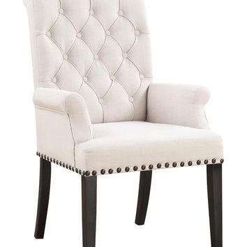 Set of 2 weber collection cream tufted back fabric upholstered dining arm chairs