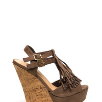 Fringe Worthy Faux Suede Wedges