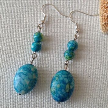 Ocean jasper earrings, blue dangle earrings, jasper earrings, ocean blue, natural stone earrings, gifts for her.