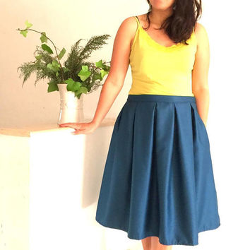 Lolly midi skirt voluminous retro large folds pockets trendy chic blue petroleum, skirt woman mid-long retro casual vintage