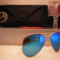 Ray Ban 3025 Aviator Matte Gold w Blue Mirror Flash Lens (RB3025 112/17 58)