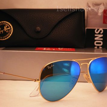 Cheap Ray Ban 3025 Aviator Matte Gold w Blue Mirror Flash Lens (RB3025 112/17 58) outlet