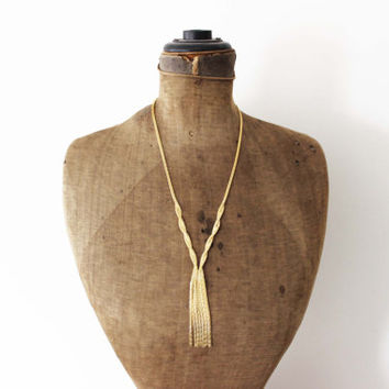 Vintage Gold Tassel Necklace - Long Gold Fringe Necklace - Chunky Gold Chain Necklace