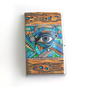 Business Card Holder with polymer clay eye and Iridescent mosaic inlay