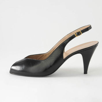 1980s Black Peep Toe Strappy Heels: Bruno Magli Designer Leather Slingback Shoes, Made in Italy, Cocktail Party, Deadstock NOS Size11B