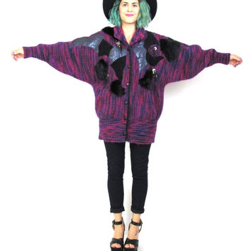 80s Mohair Sweater Coat Avant Garde Oversize Knit Cardigan Pink Purple Fuzzy Jacket Leather Patchwork Rabbit Fur Beaded Winter Coat (M/L)