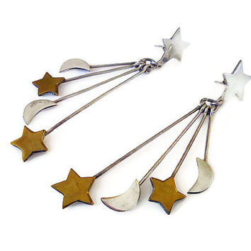 Shop vintage mexican earrings sterling on wanelo mexican sterling vintage earrings moon stars mexico silver 925 long dangle mozeypictures Images