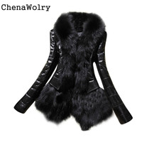 Winter Casual Long Sleeve New Designer Women Warm Fur Collar Coat Leather Thick Jacket Overcoat Parka Free Shipping Dec 6