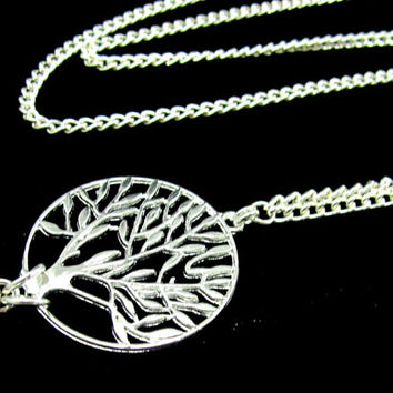 ID Badge Holder Lanyard with Silver Tree of Life and Strong Chain