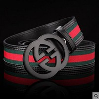 GUCCI Stylish Woman Men Metal Double G Smooth Buckle Belt Stripe Leather Belt Black Black