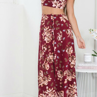 Multicolor Single-Breasted Split Side Two Piece Maxi Dress