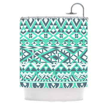 "Pom Graphic Design ""Tribal Simplicity"" Teal Shower Curtain"