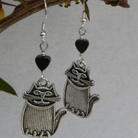 "Tibetan Silver Cats and Hematite Hearts Dangle Earrings ""Cute Cats"" ...Free Worldwide Shipping..."