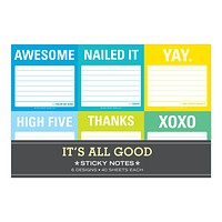 It's All Good Sticky Note Packet in Blue-Green Multicolor