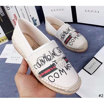 GUCCI tide brand female retro canvas straw thick bottom casual flat shoes fisherman shoes #2