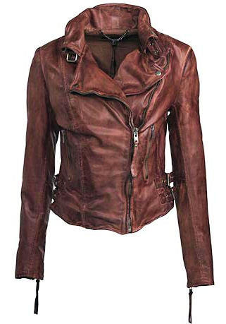 Muubaa leather Flax biker jacket in burnet