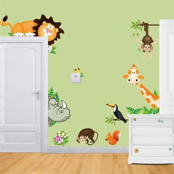 Jungle Animal Posters Kids Baby Nursery Wall Stickers Child Home Decor Decoratio PVC Mural Cartoon Style Decal Adesivo De Parede