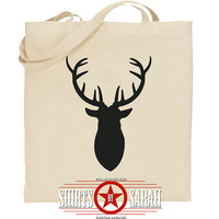 Deer Antlers Canvas Tote Bag - Farmers Market Natural Cotton Totes - Bags