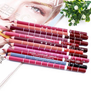 12 PCs/Set Fashion  Women's Professional Waterproof  Lip Liner Pencil Long Lasting 15CM Lip liner pen makeup