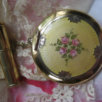 Enameled Compact, Deco Compact, Vanity Items, Vintage Compacts, Dance Purse, Estate Collections, Vintage Gifts, Yellow,  Pink Flowers