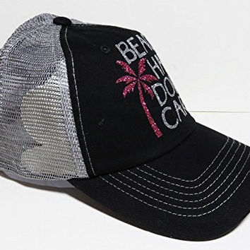Silver Glitter Beach Hair Don't Care Black/Grey Trucker Cap Hat