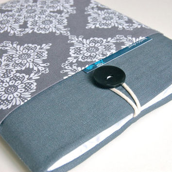 "Laptop Sleeve 14"" - 15.6""  inch Laptop Case, Ultrabook Sleeve or MacBook Pro - Gray and Lace"