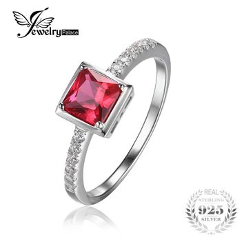 JewelryPalace 0.8ct Square Pigeon Blood Ruby Ring Solid 925 Sterling Silver Wedding Bands Ring For Women Fashion Fine Jewelry
