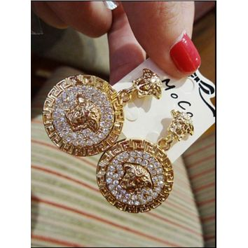 VERSACE Women Fashion Round Medusa Head Temperament Earrings Jewelry