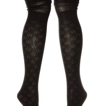 Femme Floral Thigh High Scrunch Socks in Black