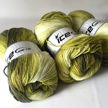 3 Ice Yarns Magic Light Acrylic Lime Green Self Striping Yarn Skeins 100 grams DK