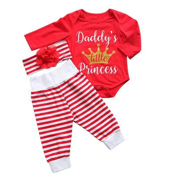 "3PCS ""Daddy's Little Princess"" Red and White Outfit"