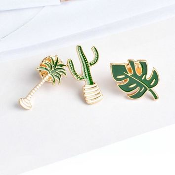 Trendy Simple Cartoon Green Plant Coconut Tree Mexican Cactus Leaf Metal Brooch Pins DIY Button Pin Denim Jacket Pin Badge Gift Jewelry AT_94_13