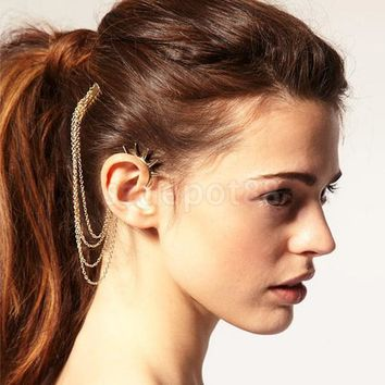 Spike Ear Cuff with Hair Comb