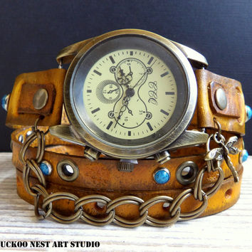 Women's Watch, Leather Watch, Tobacco Brown Wrap around Watch, Ladies watch, Bracelet Watch